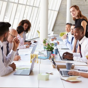 Woman leading workplace training session